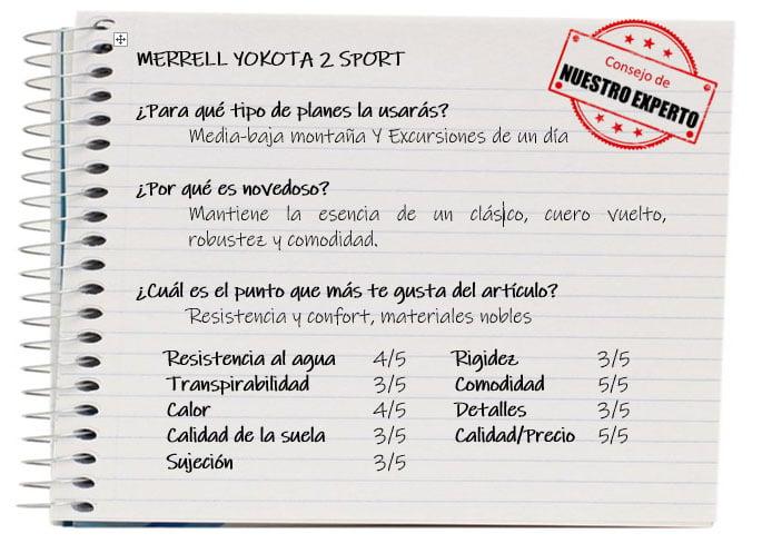 Las mejores zapatillas de trekking. Ficha Merrell Yokota 2 Sport