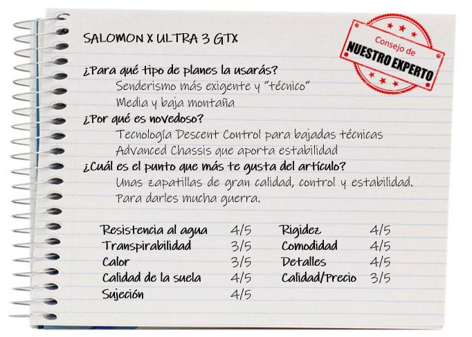 Las mejores zapatillas de trekking. Ficha Salomon X Ultra 3 GTX
