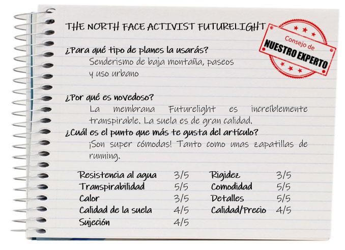 Las mejores zapatillas de trekking. Ficha The North Face Activist FutureLight